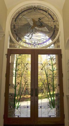 Hallway door stained glass window