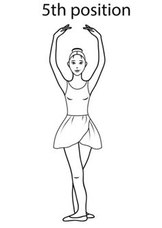 Ballet 5th Position coloring page. Link has other ballet positions to print and color too.