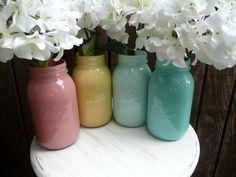 dark blue color for frames. pretty! WEDDING and Home Decor SALE Painted and Shabby Chic Mason Jar Vases - Miami inside quart. $20.00, via Etsy.