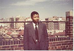 Nelson Mandela on the roof at Kholvad House. Photograph courtesy of Ahmed Kathrada