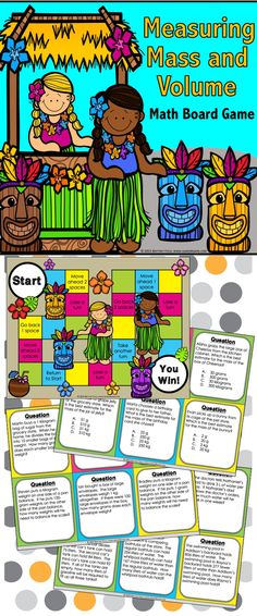 This Measurement Board Game contains 54 WORD PROBLEM measurement game cards and a game board to help students practice measuring and estimating liquid volumes and masses of objects (grams, kilograms, milliliters, liters). This measurement game has everything you need to practice Common Core standard 3.MD.A.2 and works great as a pair/group activity, in math centers, or as an informal assessment tool.