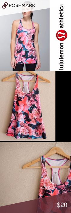 "Lululemon Secret Garden Racerback Floral Tank Lululemon Secret Garden Racerback Floral Yoga Workout Pilates Tank   ***No Size tag, but here are the measurements***  Chest:  13.5"" Length:  24.5"" lululemon athletica Tops Tank Tops"