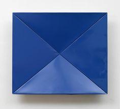 CHARLOTTE POSENENSKE<br /><i>Faltung</i> (Fold)<br />1965<br />RAL blue spray paint on folded sheet aluminum<br />34 x 39 3/4 x 5 3/4 inches (86.3 x 99 x 14.6 cm)<br />