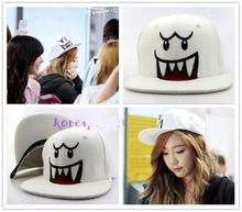 ファッションヒップホップ世代ゴーストSNSDテヨンの女の子白い淵kpop泰帽子キャップ(China (Mainland))