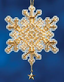 MILL HILL KIT  Snow Crystals Charmed Ornaments by DebiCreations, $5.99 Cross Stitch Kit