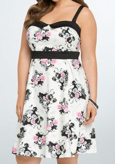 NWT Torrid Dress Retro Chic 20 2x Skull Rose Swing Rockabilly Pin up Tea Floral #Torrid #TeaDress #SummerBeach