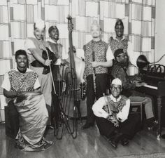 Sun Ra, at the piano, with his Arkestra in 1960. (Charles Shabacon/University of Chicago Library)