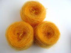 Egg Yellow Luxury mohair long haired, Kaleidoscope range by Yorkshire Mills. £5.00, via Etsy.