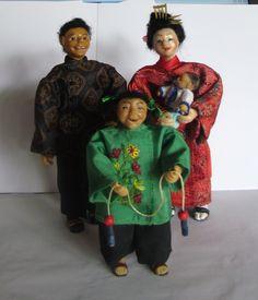 chinees gezin handgemaakt popje van fimo