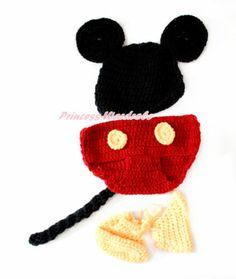 Newborn Baby Crochet Big Ear Mickey Mouse 3pcs Photo Prop Costume Set NB 6month | eBay