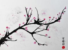 watercolor blowing art cherry blossom - Google Search