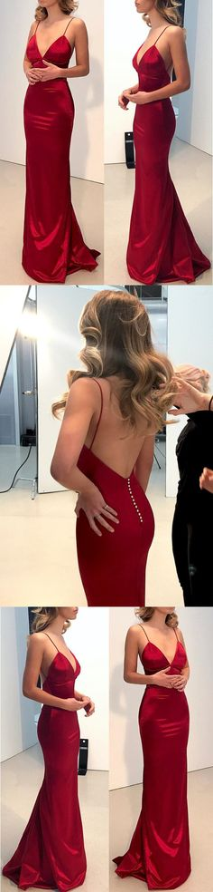 Simple Backless Dark Red Mermaid Long Evening Prom Dresses M2157