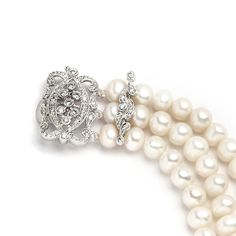 Freshwater Pearl 3 Row Wedding Bracelet with Vintage Clasp - Affordable Elegance Bridal -