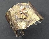 """Artisan Brass Fold Formed 2"""" Cuff with Riveted Heart-"""