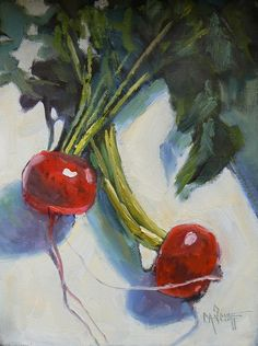 A vegetable painting, a still life, daily painting in a 6x8 format. Original Price $99    A little daily painting about food, about vegetables,