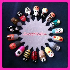 cute animal nail art design wheel by SweetRain - Instagram
