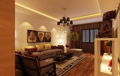 Living Room, Exquisite Black Crystal Hanging Lamps With Great Brown Wooden Floor Also Exclusive Dark Brown Wooden Chair: Great Yellow Living...