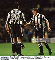 Peter Beardsley is congratulated by Philippe Albert after his League goal Newcastle United Wallpaper, Peter Beardsley, Newcastle United Football, Stock Pictures, Stock Photos, Royalty Free Photos, Goal, The Unit, Image