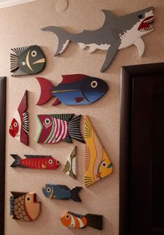 Wood Fish Art Home Decor Painted Board For Home or Office Original – Holzarbeiten Wooden Crafts, Paper Crafts, Wood Yard Art, Wood Fish, Fish Sculpture, Fish Crafts, Painted Boards, Mural Wall Art, Colorful Fish