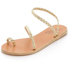 Ancient Greek Sandals Eleftheria Sandals (11,435 DOP) ❤ liked on Polyvore featuring shoes, sandals, platinum, metallic flat sandals, leather strappy sandals, braided sandals, woven leather sandals and strap sandals