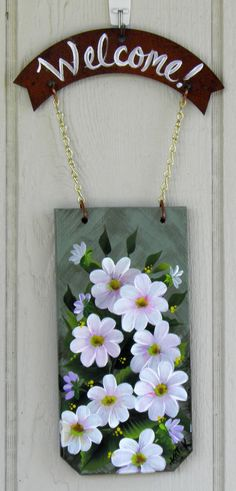 Pink Daisy Welcome, Hand Made and Hand Painted.
