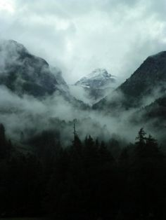 mountains, nature, and fog image