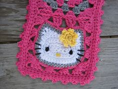 Hello kitty granny square - click to go from Ravelry to blog page for in depth pattern instructions - FREE!!