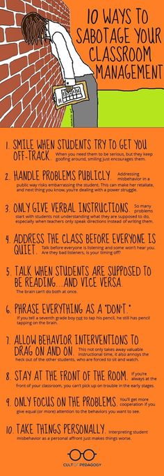 For my student teacher: 10 Ways to Sabotage Your Classroom Managment: If you are having classroom management problems, take a look at this article, which explains what NOT to do, and the more effective practices you should try instead. Classroom Management Techniques, Classroom Behavior Management, Behaviour Management Strategies, Classroom Behaviour, Classroom Discipline, Behavior Plans, Student Behavior, Behavior Charts, Teaching Strategies