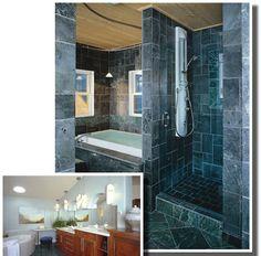 Soapstone Tile Bath, Shower And Sauna Near Bozeman, MT