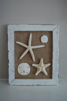 Framed Sea Stars and Sand Dollars by LagunaBeachcomber on Etsy Seashell Projects, Seashell Crafts, Beach Crafts, Beach Shadow Boxes, Sea Glass Crafts, Sand Dollars, Star Decorations, Frame Crafts, Beach House Decor