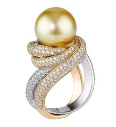 Trinity Ring in White, Rose & Yellow Gold with Diamond Pave and a Gold Pearl by Cartier