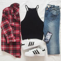 Plaid flannel crop top jeans adidas runners shoes spring