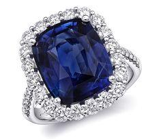 Cushion Sapphire and Diamond Ring, 8.59 ct. sapphire