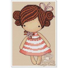 #mika__mila_katya #magic__dolls #crossstitch #вышивка @magic__dolls  Peach/Персик 65*96 stitch, 12 DMC color, 1 color beads, cross stitch, backstitch