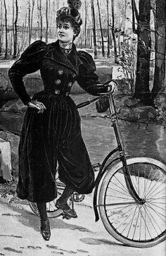 Bloomers- athletic clothing for women. Bloomer wanted women to wear clothing that promoted freedom of movement, so she appeared in public in knee-length, loose-fitting pants. Specifically worn playing golf or cycling. 1890s Fashion, Edwardian Fashion, Vintage Fashion, Elizabeth Smith, Anjou Velo Vintage, Viktorianischer Steampunk, Steampunk Couture, Steampunk Halloween, Style Édouardien