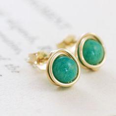 Green Gemstone Aventurine Post Earrings,14k Gold Fill Wire Wrapped Handmade, aubepine. $15.50, via Etsy.