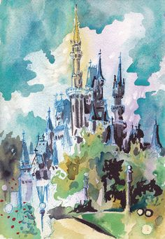 Cinderella's Castle  Print of Disney World  by JenTheTracy on Etsy