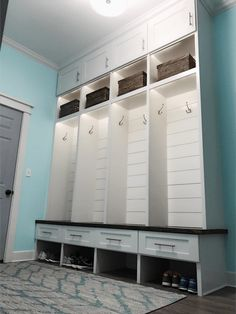 Mudroom Lockers Love the upper and lower cubbies Mudroom Cubbies, Mudroom Cabinets, Mud Room Garage, Mud Room Lockers, Kids Locker, Locker Ideas, Foyer Decorating, Laundry Room, Laundry Closet