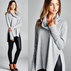 """Anonymous"" Cowl Neck Long Sleeve Top Cowl neck long sleeve top with side slits. Available in heather grey and ivory. This listing is for the HEATHER GREY. Brand new. True to size. NO TRADES. Bare Anthology Tops Tees - Long Sleeve"
