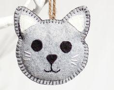 Felt Cat Ornament Plush Cat Felt Animal Kawaii by Sparkfelt