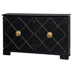 Stow spare dinnerware or linens in your kitchen or dining room with this eye-catching sideboard, featuring 4 doors and gold-hued lattice details.