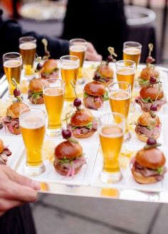 Mini beer and burger appetizers