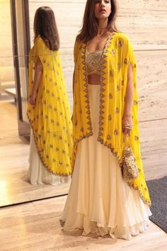 60 GM Georgette Party Wear Lehenga Choli In Cream and Yellow Colour Buy Best price latest designer Georgette Party Wear Lehenga Choli In Cream and Yellow Colour online in india Cash on Delivery Available! Indian Attire, Indian Wear, Indian Outfits, Party Wear Indian Dresses, Dress Party, Indian Diy, Indian Ethnic, Indian Dresses For Girls, Dress Designs For Girls
