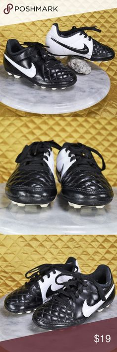Youth Nike Tiempo Rio FG-R Soccer Cleats These Nike black & white cleats are seriously cool! 😎😍 They have been cleaned and are in excellent condition!! Kids size 10.5C  🌟🌟If you appreciate old school quality - you're in the right place. We don't just sell items, we put time & work into them. We also ship FAST, within 1-2 business days at MOST! Thank you for visiting my Closet! 🌹🌹😊 Nike Shoes