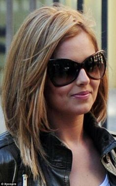 Long bob w layered bangs..about an inch shorter and this is exactly how I want my hair cut!