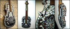 Decoration violin covered with beautiful nacreous, iridescent glass mosaics. Colours are changing depending on the current lights. Only decoration, can't play on it! Mosaic Designs, Mosaic Glass, Violin, Mosaics, Iridescent, Ladder Decor, Dyi, Furniture Design, Colours