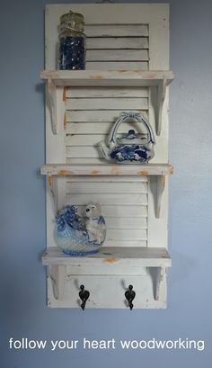 repurposed shutter shelf this site has wonderful 280489883023783893 20 Most Creative DIY Projects for Old Shutters in Your Home Decor Repurposed Furniture, Diy Furniture, Repurposed Wood, Refurbished Furniture, Furniture Styles, Furniture Plans, Rustic Furniture, Antique Furniture, Furniture Design