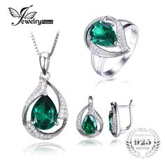 Daesar Sterling Silver Womens Necklace CZ Waterdrop Halo with Crystal Green Pendant Necklace for Womens