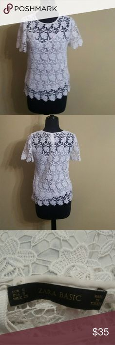 Zara Blouse White lace blouse built in camisole. It's in almost new condition. Zara Tops Blouses