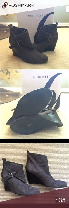 Nine West Suede Wedge Booties In wonderful condition and barely worn as you can see from the second picture.  These are Nine West MWORRO in dark gray suede with a leather buckle and leather detail on the back of the heel. They are a size 7. Comes with box. Nine West Shoes Ankle Boots & Booties